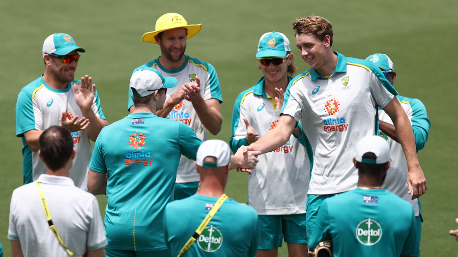 Steven Smith presents Cameron Green his debut ODI cap in Canberra
