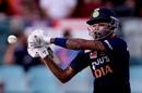 Hardik Pandya reaches out to cut, Australia vs India, 3rd ODI, Canberra, December 2, 2020
