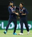 Virat Kohli and Kuldeep Yadav celebrate Cameron Green's wicket, Australia vs India, 3rd ODI, Canberra, December 2, 2020