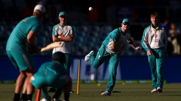 Steven Smith has a bowl prior to the start of the match