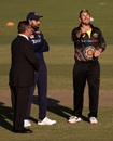Aaron Finch flips the coin at the toss, Australia vs India, 1st T20I, Canberra, December 4, 2020
