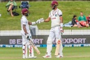 Jermaine Blackwood and Roston Chase bump fists during their partnership New Zealand vs West Indies, 1st Test, Hamilton, 3rd day, December 5, 2020