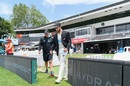 Gary Stead and Kane Williamson step out for a stroll at Seddon Park, Hamilton, December 3, 2020
