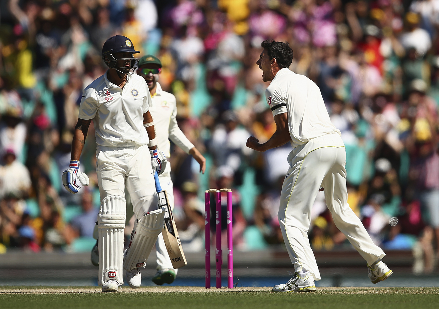 How d'ya like me now? Starc is impassioned after dismissing M Vijay in the first over of the 2014-15 SCG Test
