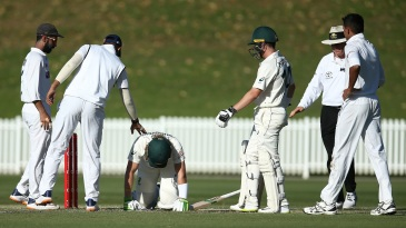 Will Pucovski got hit on the helmet by a short ball from Kartik Tyagi