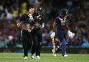 Mitchell Swepson gets congratulated after taking a wicket, Australia vs India, 3rd T20I, Sydney, December 8, 2020