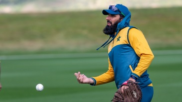 Misbah-ul-Haq participates in a fielding drill