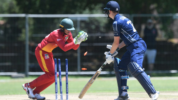 Dane Schadendorf completes a stumping in the Under-19 World Cup