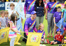 Tom Smith and his daughter Rosie during the Rainbow match for Grief Encounter , Gloucestershire v Sussex, Vitality Blast, South Group, Bristol, August 04, 2019