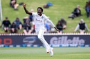 Debutant Chemar Holder is ecstatic after getting his first Test wicket, New Zealand v West Indies, 2nd Test, Wellington, December 11, 2020