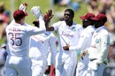 Alzarri Joseph celebrates with his team-mates, New Zealand v West Indies, 2nd Test, second day, December 12, 2020