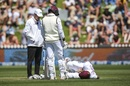 John Campbell is on the ground after being struck by the ball, New Zealand v West Indies, 2nd Test, second day, December 12, 2020