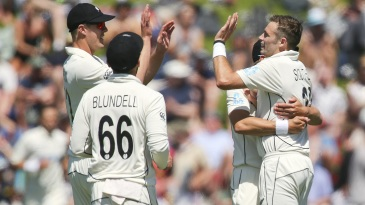 Tim Southee is congratulated by his team-mates