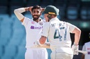 Jasprit Bumrah reacts as Ben McDermott picks him up for runs, Australia A v Indians, day-night tour match, third day, Sydney, December 13, 2020