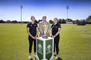 Amy Satterthwaite, Richard Hadlee and Lea Tahuhu at the announcement of the 2022 Women's ODI World Cup fixtures, Christchurch, December 15, 2020
