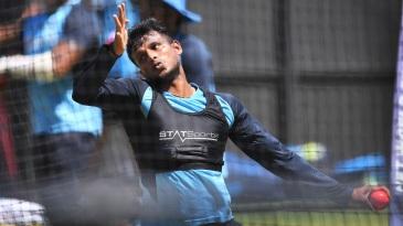 T Natarajan bowls at the India nets