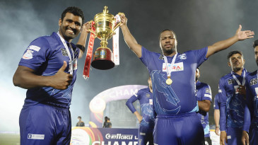 Thisara Perera and Johnson Charles rejoice with the LPL trophy