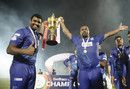 Thisara Perera and Johnson Charles rejoice with the LPL trophy, Jaffna Stallions vs Galle Gladiators, LPL 2020 final, Hambantota, December 16, 2020