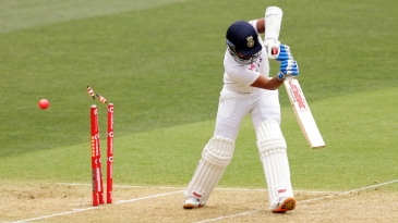 Prithvi Shaw inside edged for a duck