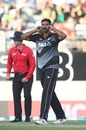 Ish Sodhi gives his moustache a twirl after getting Khushdil Shah's wicket, New Zealand vs Pakistan, 1st T20I, Auckland, December 18, 2020