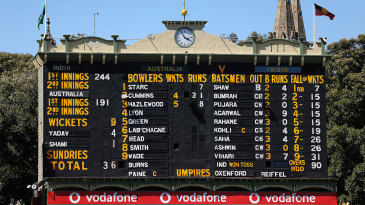 The famous Adelaide scoreboard records the details of India's collapse