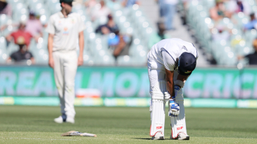Mohammed Shami was struck on the hand while batting and had to retire hurt