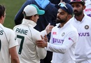 Tim Paine and Virat Kohli catch up after the game, Australia vs India, 1st Test, Adelaide, 3rd day, December 19, 2020