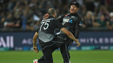 Glenn Phillips roars his approval after Daryl Mitchell's spectacular catch