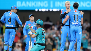 Adelaide Strikers celebrate after Jimmy Peirson's stunning knock nearly stole the game