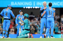 Adelaide Strikers celebrate after Jimmy Peirson's stunning knock nearly stole the game, Brisbane Heat vs Adelaide Strikers, BBL 2020, Brisbane, December 23, 2020