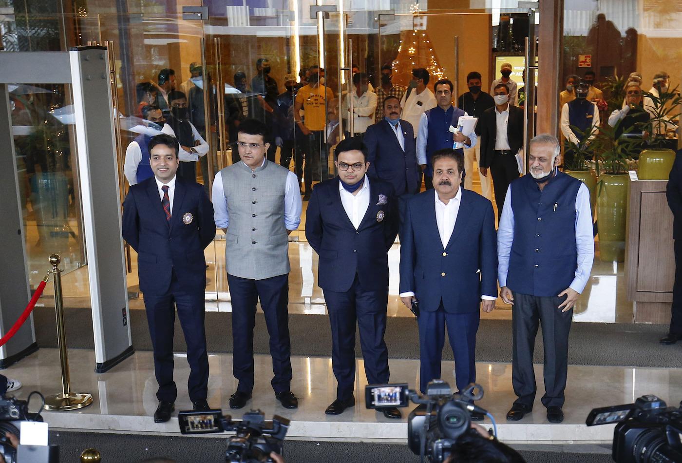 Arun Singh Dhumal, Sourav Ganguly, Jay Shah, Rajeev Shukla, and Brajesh Patel at the 89th BCCI AGM in Ahemadabad