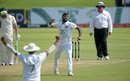Lahiru Kumara celebrates the wicket of Rassie van der Dussen, South Africa v Sri Lanka, 1st Test, Day 2, Centurion, December 27, 2020