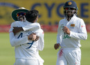 Wanindu Hasaranga is embraced after taking his first Test wicket, South Africa v Sri Lanka, 1st Test, Day 2, Centurion, December 27, 2020