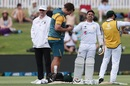 Abid Ali was struck on his forefinger by a Kyle Jamieson lifter, New Zealand vs Pakistan, 1st Test, Mount Maunganui, 3rd day, December 28, 2020