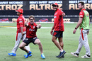 Anil Kumble and Jimmy Neesham walk past as Jonty Rhodes goofs around for the camera, Kings XI Punjab vs Sunrisers Hyderabad, IPL 2020, Dubai, October 24, 2020