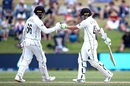 Tom Blundell and Tom Latham punch gloves, New Zealand vs Pakistan, 1st Test, Mount Maunganui, Day 4, December 29 2020