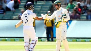 Tim Paine congratulates Ajinkya Rahane after India's win