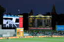 A replay of a DRS review shown on the big screen, Australia vs India, 1st Test, Adelaide, 2nd day, December 18, 2020