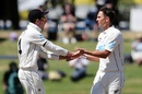 Trent Boult celebrates the early breakthrough with Mitchell Santner, New Zealand vs Pakistan, 1st Test, Mount Maunganui, Day 5, December 30 2020