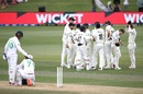 Naseem Shah is consoled by his partner after becoming the final wicket of an incredible game, New Zealand vs Pakistan, 1st Test, Mount Maunganui, Day 5, December 30 2020