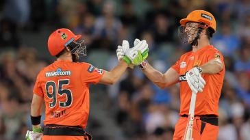 Josh Inglis and Mitchell Marsh celebrate Perth Scorchers' win
