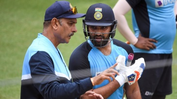 Ravi Shastri and Rohit Sharma during a practice session