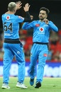 Rashid Khan celebrates with Peter Siddle after dismissing Jack Edwards, Adelaide Strikers vs Sydney Sixers, BBL 2020-21, Gold Coast, January 3, 2021
