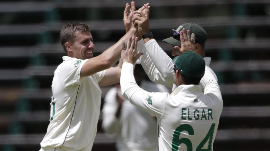 Anrich Nortje celebrates on his way to a six-wicket haul