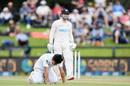 Naseem Shah reacts after attempting a tough catch off Henry Nicholls, New Zealand v Pakistan, 2nd Test, Christchurch, 3rd day, January 5, 2021
