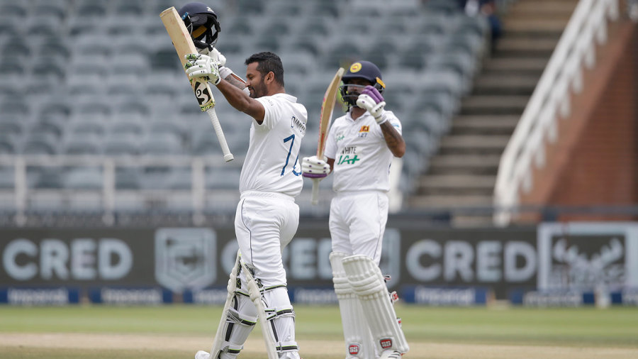 Dimuth Karunaratne brought up his tenth Test century on the third morning