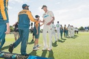 Kyle Jamieson, who picked up 11 wickets in the match, carries a souvenir on his way out, New Zealand vs Pakistan, 2nd Test, Christchurch, 4th day, January 6, 2021