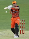 Mitchell Marsh gets in position to whack one towards midwicket, Perth Scorchers vs Sydney Sixers, BBL 2020-21, Perth, January 6, 2021