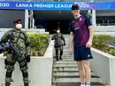 Zak Crawley poses with a security guard as England train at Hambantota, England tour of Sri Lanka, January 6, 2020