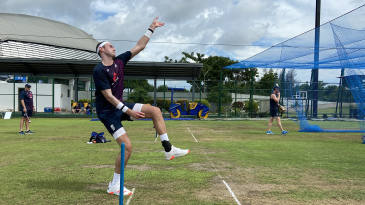 Stuart Broad in the nets at Hambantota